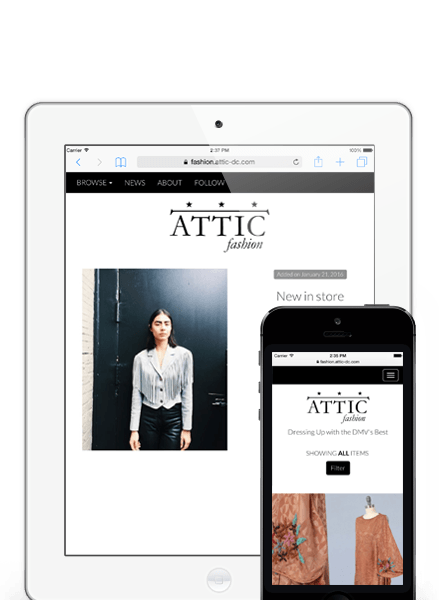 Homepage screenshot of ATTIC DC Fashion, a marketing and local commerce app for boutiques and clothing stores