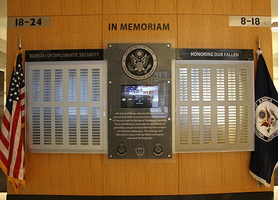 US State Department DS Fallen Memorial with Touchscren Kiosk at Headquarters in Rosslyn VA outside of Washington DC