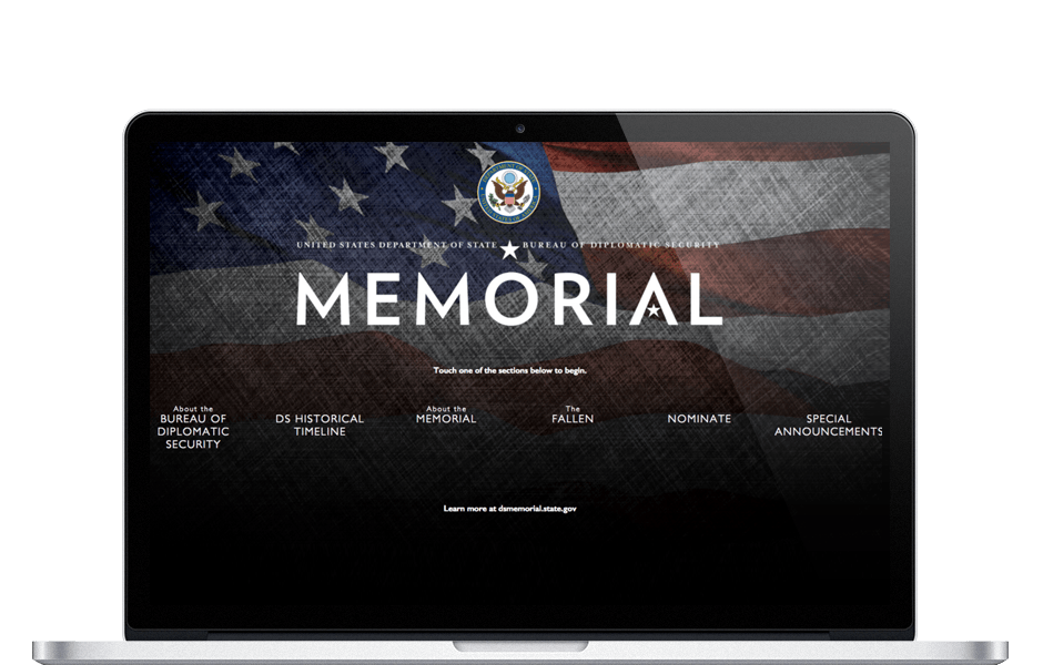 Screenshot of the Touch Based DS Fallen Interactive Kiosk Memorial for Federal Government Agency Contract