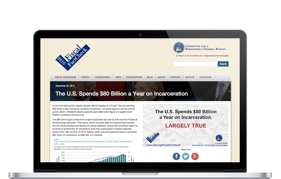 Screenshot of Fiscal FactCheck WordPress website for Washington DC think tank
