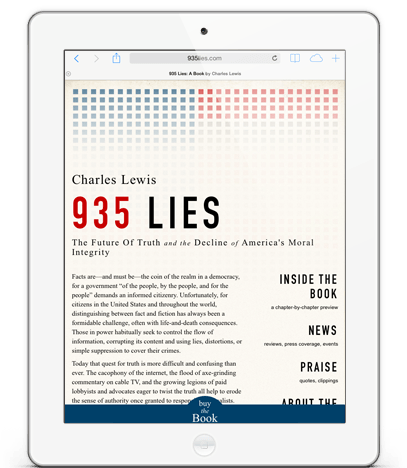 935lies.com on iPad -- Website for 935 Lies, the book by Charles Lewis